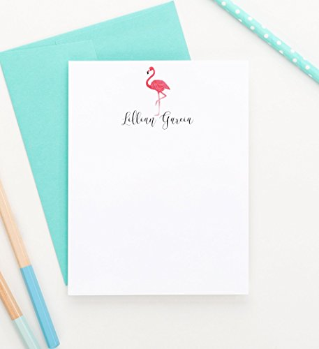 Personalized Stationery, Flamingo Personalized Stationery Set, Personalized Stationary Note Cards, Your Choice of Colors, Set of 10 flat note cards and envelopes
