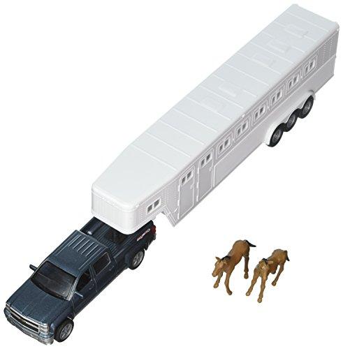 (NewRay 1:43 Longhauler - Chevrolet Silverado 4X4 with Horse Trailer and Horse Figures)