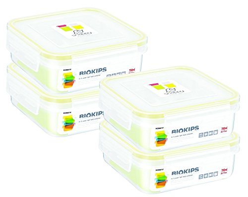 Komax Biokips Food Storage Sandwich Lunch Box Container 23oz. (set of 4) - Airtight, Leakproof With Locking Lids - BPA Free Plastic - Microwave, Freezer and Dishwasher Safe