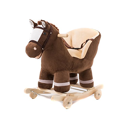 (QXMEI Baby Rocking Horse Wooden 2 In 1 Dual Use With Wheels Rocking Horse For Kid Child Boys And Girls Nursery Rocker Seat Cute Plush Animal Music Puzzle Toy)