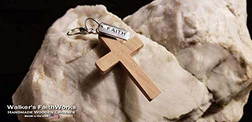 "2"" Cherry Wood Cross: Walker's Christian Faith Pack Series #1. Wooden Cross Charm/Pendant/Key Chain with Three Inspirational Faith Cards for Christian Women and Men."