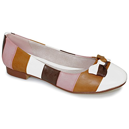 Heel Ladies Front Bow Multi On Womens Low Flats Stripe Shoes Brown Slip Multicolour SAPPHIRE Comfy v8Twx