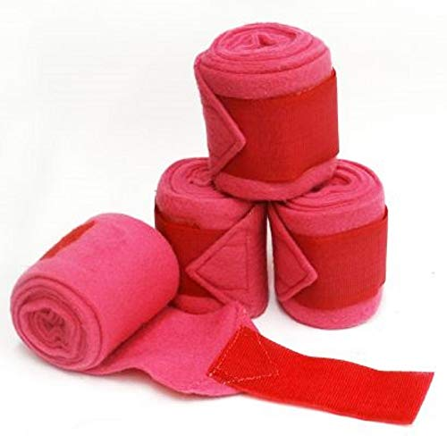Showman Pony Pink Fleece Polo Wraps Set of 4 Extra Thick Leg Protection Horse Care Solid Colors Color ()