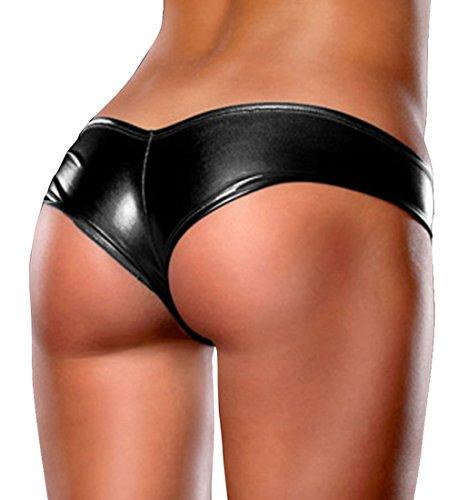Women's Metallic Micro Shorts Panty Thong, Black, Small/Medium (Booty Shorts Sexy)