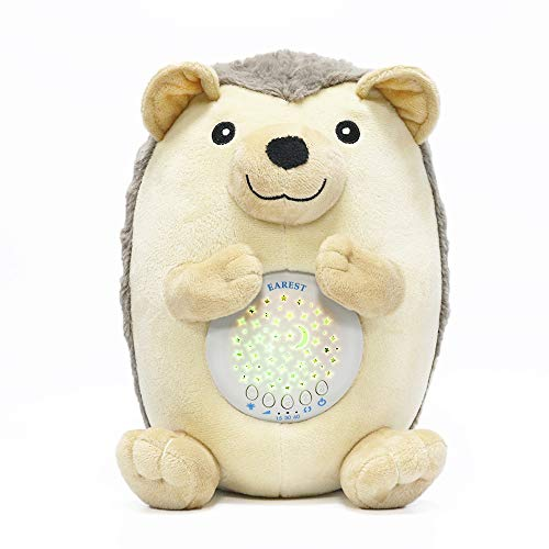 EAREST White Noise Sound Machine Baby Gifts Nightlight Star Projector & 3 Auto Timer & 15 Lullabies Sounds, Baby Sleep Soother Hedgehog Stuffed Animal Plush Toy for Babies, Toddlers & Kids (Mk Iii Auto)