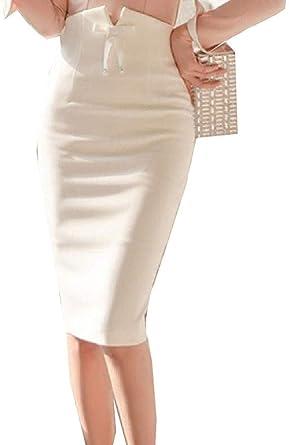 securiuu Faldas de Corte Ajustado para Mujer, Color Liso, Cintura ...