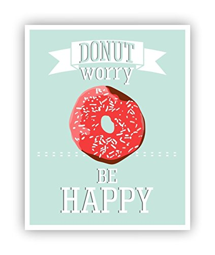 Donut Worry Be Happy Poster Funny Puns 11 x 14