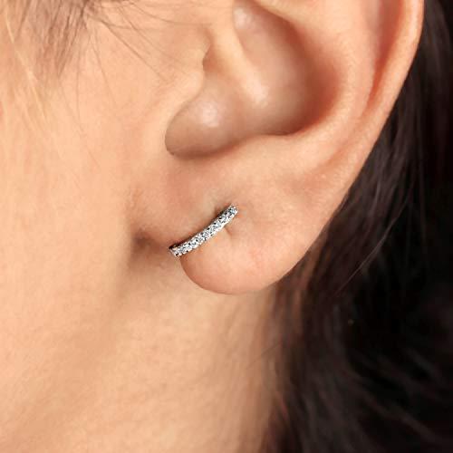 Solid 14k White Gold Diamond Pave Huggie Hoop Earrings Handmade Fine Jewelry NEW