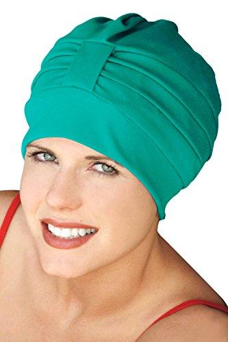 (Turban Bathing Cap - Vintage Swim Caps for Women Teal)