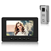 "Video Doorbell Phone, YOKKAO Video Intercom Monitor 7"" Door Phone Home Security Color TFT LCD HD Wired for House Office Apartment (Black)"