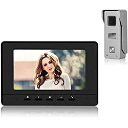"""Video Doorbell Phone, YOKKAO Video Intercom Monitor 7"""" Door Phone Home Security Color TFT LCD HD Wired for House Office Apartment (Black)"""