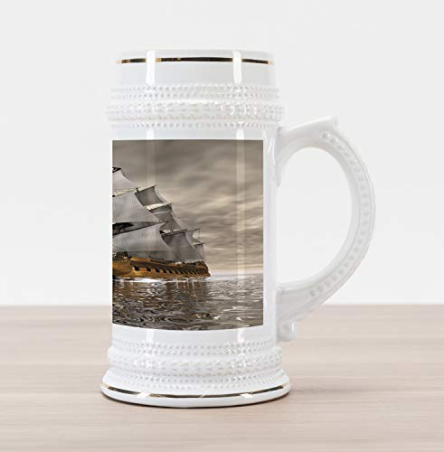 Lunarable Ocean Beer Stein Mug, 3D Style Pirate Ship Sea Historic Vessel Cloudy Sky Voyage Exploration Theme, Traditional Style Decorative Printed Ceramic Large Beer Mug Stein, Grey Pale Coffee ()