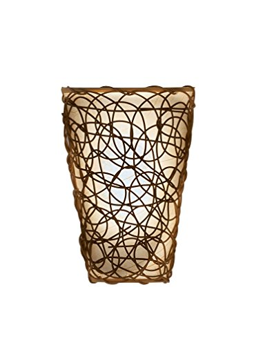 It's Exciting Lighting IEL-2110 Shade with Wicker and Flicker Sconce, Tan Shade With Brown Wicker, Battery Operated, Lightweight And (Sconces Picture Lighting)