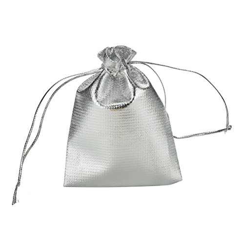 YUTIAN 100pcs Drawstring Organza Pouch Jewelry Wedding Favor Candy Bag Packing  Silver