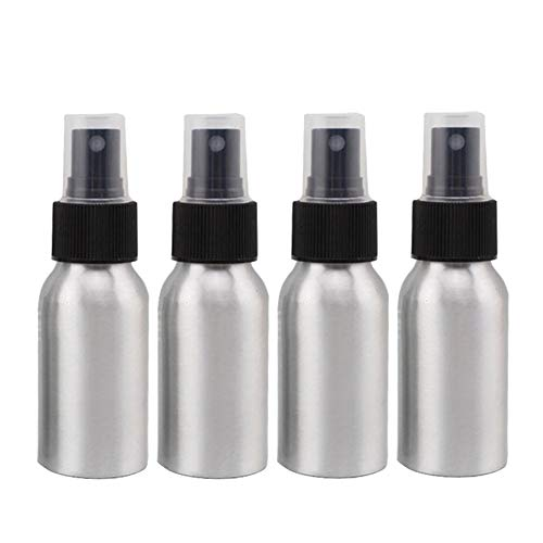 Furnido 1.72oz Aluminium Essential Oil Spray Bottle Refillable Perfume Fine Mist Atomiser Empty Beauty Metal Spray Bottles Cosmetic Packaging Container travel subpackage Bottles 4-Pack (Black -