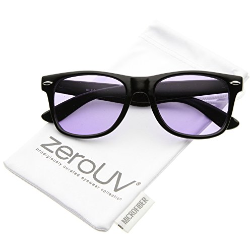 zeroUV - Retro Wide Temple Color Tinted Square Lens Horn Rimmed Sunglasses 54mm (Black / - Tinted Glasses Purple
