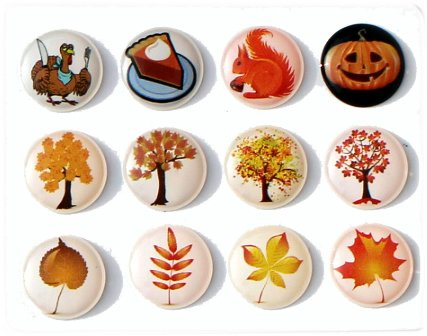 Autumn Fall Season 12 Pieces Home Button Stickers for iPhone 5 4/4s 3GS 3G, iPad 2, iPad Mini, iPod Touch