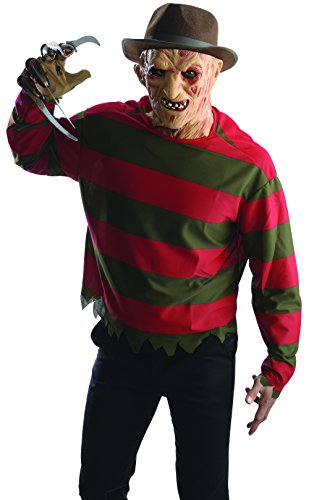 Rubie's Costume Men's Nightmare On Elm St Freddy Krueger Shirt with Mask, Multicolor, Standard