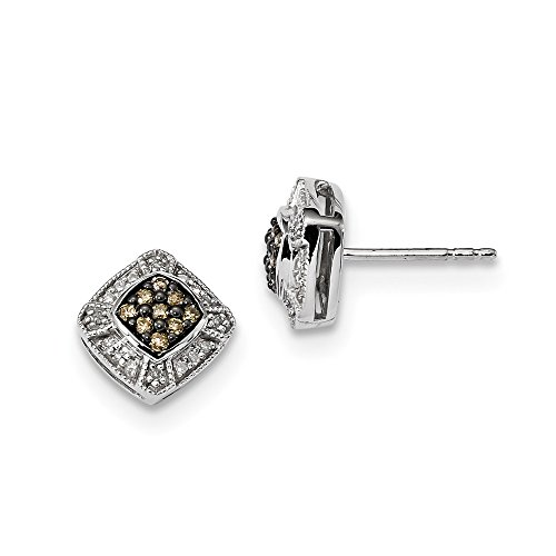 Sterling Silver Champagne Diamond Small Square Post Earrings by CoutureJewelers