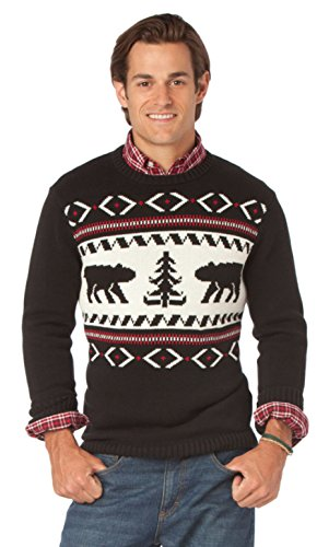 Chaps Men's Classic-Fit Red Lodge Crew Neck Sweater, Black (Large) by Chaps