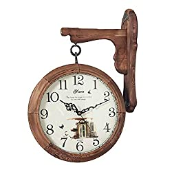 MGE UPS Systems Clock Wall Clock,Large Wall Clock in European Style with Wall Clock and Retro-Style Clock, Modern Living Room Wall Clock (Color : Wood Color, Size : 14inch)
