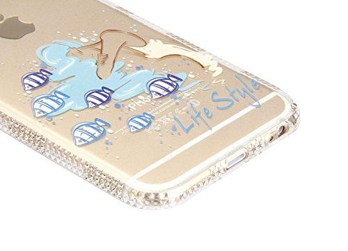 Funda para iPhone 6/6S plus, Ukayfe Suave Carcasa Caso Parachoques Diseño pintado Patrón para iPhone 6/6S plus,Funda Case Lujo Premium Bling Caja PC Dura Ultra Fina Cubierta Matt Glitter Protectora Ca sirena