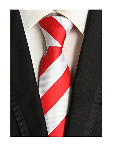 (Men's Red and White Silk Ties for Boy Luxury Unique Designer Cool Dress Neckties)