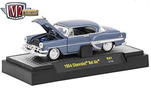 M2 Machines 1954 Chevrolet Bel Air (Shadow Gray Metallic) Auto-Thentics 10th Anniversary Release 41 - 2016 Castline Premium Edition 1:64 Scale Die-Cast Vehicle (R41 17-14)