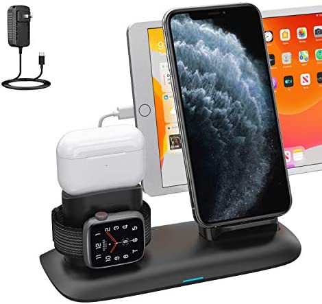 Wireless Charger, 4 in 1 Wireless Charging Station for ipad Apple Watch and that iPhone Airpods Pro, Wireless Charging Stand for iPhone 11/11 Pro Max/X/XR/Xs/8 Plus Apple Watch Charger 5 4 3 2 1 Airpods 2
