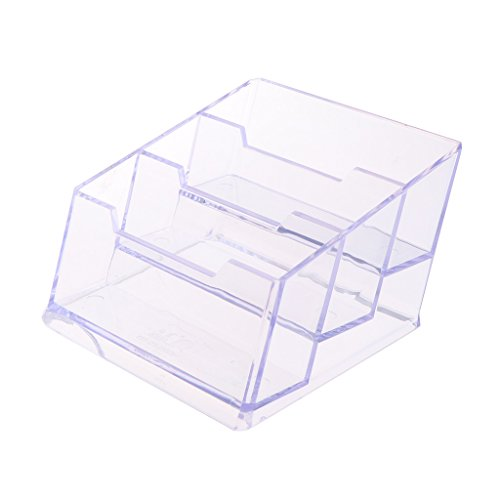 (Milue 3-Tier Clear Acrylic Plastic Office Desktop Business Card Holder Storage Box)
