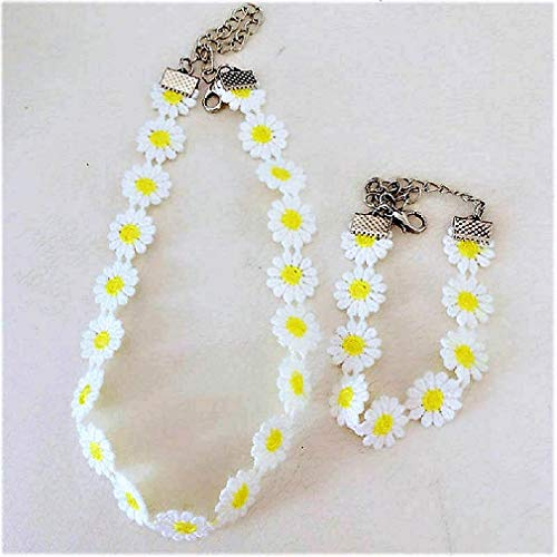 Delicate Daisy Flower Lace Choker Chain Necklace or Yellow Set (Yellow Choker and Bracelet)