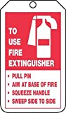 5-3/4''Lx3-1/4''W Black/Red/White Cardstock TO USE FIRE EXTINGUISHER Waterproof Fire Extinguisher Tag, (Package of 25)