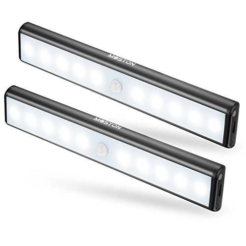 Moston USB Rechargeable Under Cabinet lights 10 LED Magnetic ...