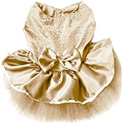 PanDaDa Dog Daisy Gauze Tutu Dress Skirt Pet Dog Cat Princess Clothes Bowknot Dress (L, Gold)