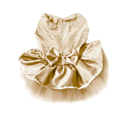 PanDaDa Dog Daisy Gauze Tutu Dress Skirt Pet Dog Cat Princess Clothes Bowknot Dress (M, Gold) (Cat Tutu)