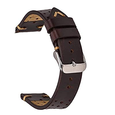 EACHE Perforated Watch Band,Rally Racing Leather Watch Strap,Vegetable Tanned Oil Waxed & Suede Calfskin,18mm 20mm 22mm by EACHE