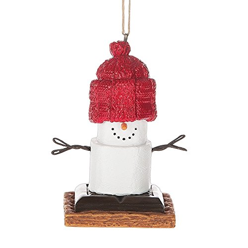 S'mores Wearing Oversized Red Knit Hat Ornament Midwest CBK (Marshmallow Ornament)
