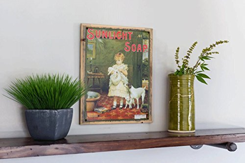 Sunlight Soap Metal Sign Framed on Rustic Wood: Soap, Laundry, and Bathroom Décor Wall Accent by OMSC (Image #1)