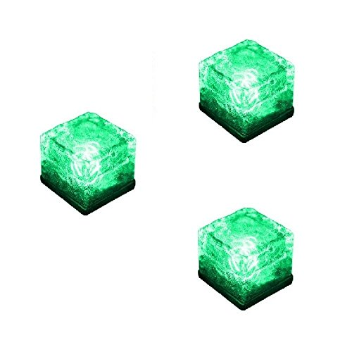 Solar in Ground Light Outdoor, Youqian Recharagable Glowing Ice Cube Rocks Waterproof Solar Underground Light Green(Pack of 3 by Youqian