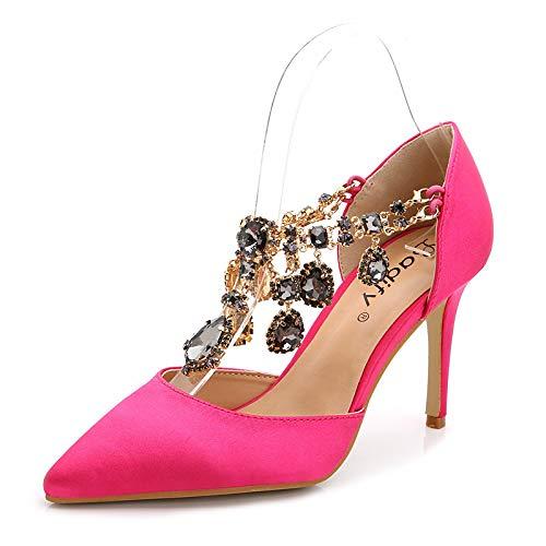 Yukun zapatos de tacón alto Talón De Tacón De Aguja De Tacón Alto De Mujer Rojo Satinado Pink