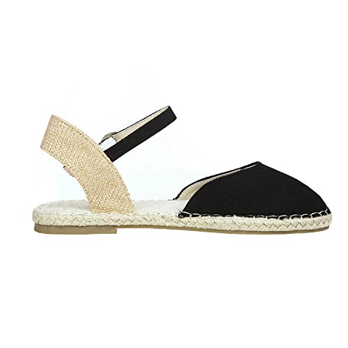 Ermonn Womens Espadrille Flat Sandals Closed Toe Ankle Strap Buckle D'Orsay Flat Shoes by Ermonn (Image #1)