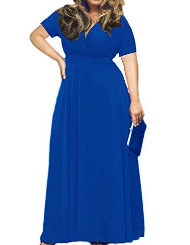 POSESHE Women's Solid V-Neck Short Sleeve Plus Size Evening Party Maxi Dress (X-Large, Short Sleeve Royal Blue)