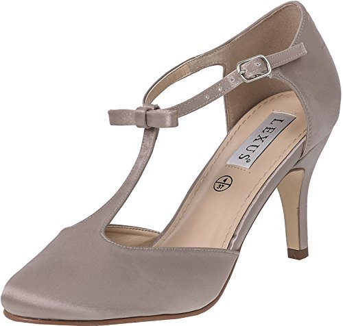 LEXUS Womens T Bar Shoes Closed Toe Medium Kitten Heel Plain Satin Fabric With Bow On The Ankle Strap Taupe 6uHiYp5TU9