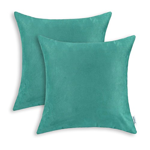 CaliTime Pack of 2 Cozy Throw Pillow Covers Cases for Couch Bed Sofa Super Soft Faux Suede Solid Color Both Sides 18 X 18 Inches Teal