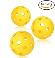 Pickleball Balls, Professional Patented 26 Hole Design Pickleball Balls, Set of 3 Indoor & Outdoor Pickleb