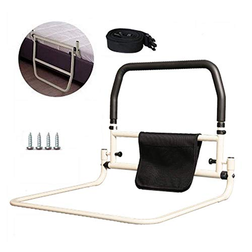 Nurth Foldable Bedside Handrail Portable Assisting get up Anti-Fall Secure Bed Rail No Punch Bed guardrail Prevention Aid with Seat Belt and Storage Pouch Bag for Seniors Home Hospital Bedroom (A) ()