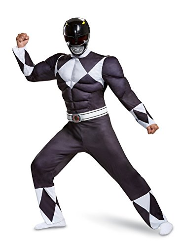 Disguise Men's Plus Size Black Ranger Classic Muscle Adult Costume, XXL (50-52) Adult Power Ranger Costume