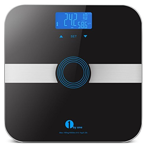 Measure Body Fat Composition (1byone Body Fat Scale Body Scale Bathroom Scale with Tempered Glass, 180kg/400lb Weight Capacity, 10 Users Auto Recognition, Measures Weight, Body Fat, Water, Muscle, Calorie and BMI, Black)