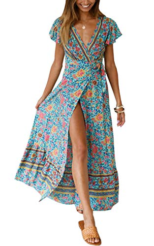 ECOWISH Women's Dresses Bohemian Wrap V Neck Short Sleeve Ethnic Style High Split Beach Maxi Dress Green L