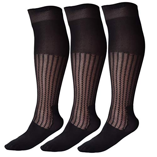 Mens Thin Socks Silk Sheer Trouser Sox Mid-Calf Over the Calf Cool For Summer 3 Packs (one siz fit all, wave) ()